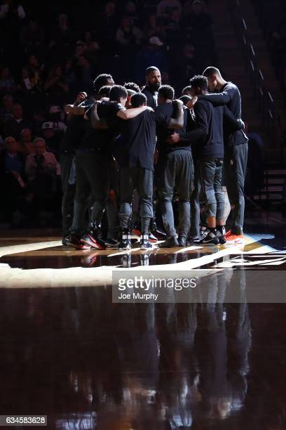 The Phoenix Suns huddle up before the game against the Memphis Grizzlies on February 8 2017 at FedExForum in Memphis Tennessee NOTE TO USER User...
