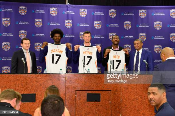 The Phoenix Suns introduce the 2017 draft picks to the media during a press conference on June 23 2017 at the Talking Stick Resort Arena in Phoenix...