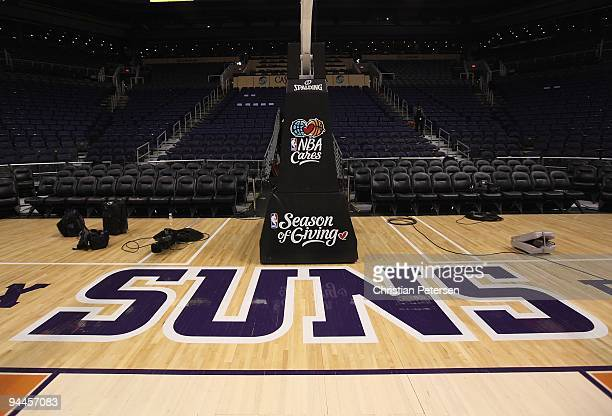 The Phoenix Suns logo is seen on the court before the NBA game against the Orlando Magic at US Airways Center on December 11 2009 in Phoenix Arizona...