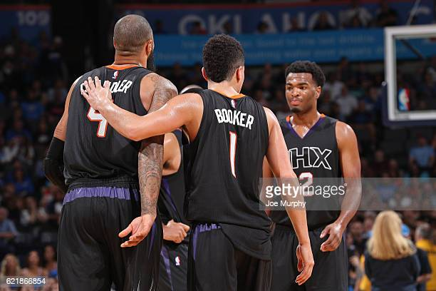 The Phoenix Suns react during the game against the Oklahoma City Thunder on October 28 2016 at the Chesapeake Energy Arena in Oklahoma City Oklahoma...