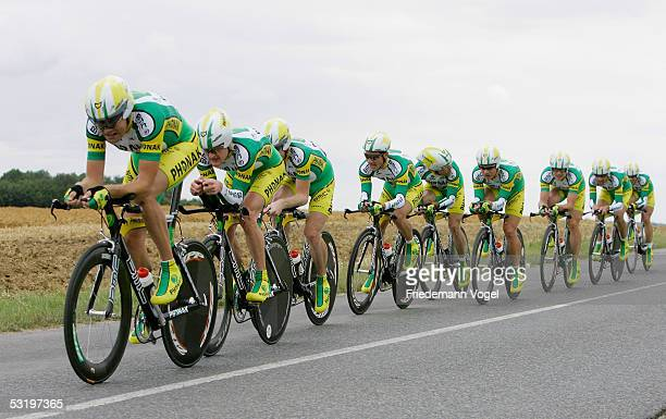 The Phonak team rides during the Stage 4 team time trial in the 92nd Tour de France between Tours and Blois July 5 2005 in France