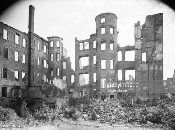 The photo by famous photographer Richard Peter sen shows the ruins of the graphic buildings in the Lindenaustraße no 11 The photo was taken after 17...