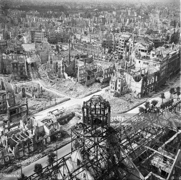 The photo by famous photographer Richard Peter sen shows the view from the Town Hall Tower over the destroyed city of Dresden towards Southwest The...