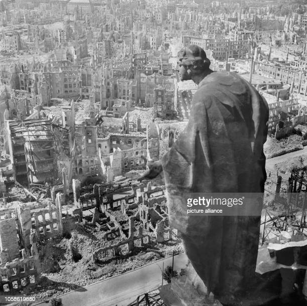 The photo by famous photographer Richard Peter sen shows the view from the tower of the city hall southwards over the destroyed city of Dresden with...