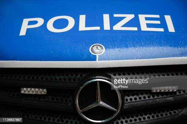 The photo illustration show The logo of Police in a Mercedes Car near Stuttgart, Germany, on 6 March 2019.
