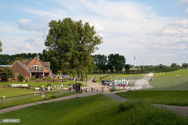 CONTENT] The photo is made in Wedel near Hamburg Germany The hill on the right is an embankment to protect fields and villages from floods