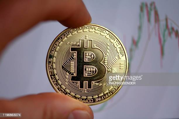 The photo shows a physical imitation of a Bitcoin in Dortmund western Germany on January 27 2020