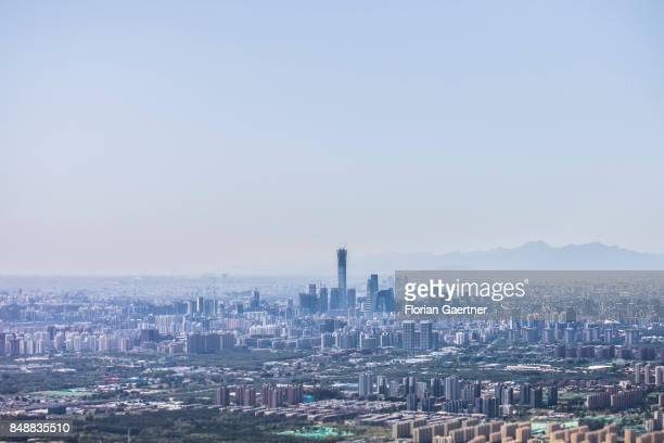 The photo shows an aerial view of Beijing city center on September 17 2017 in Beijing China