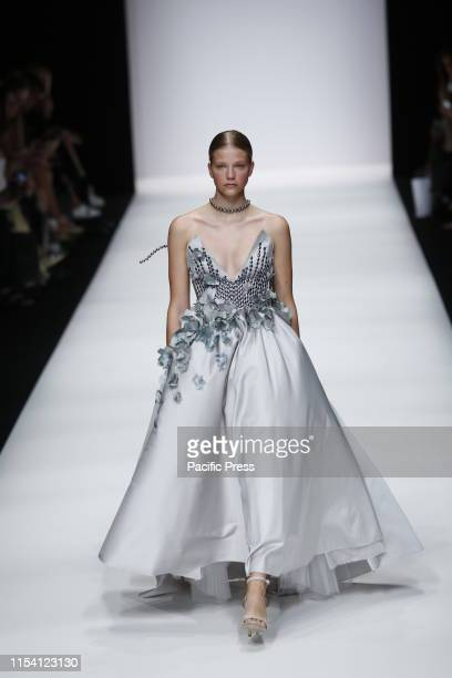 The photo shows model on the catwalk with the collection Spring/Summer 2020 of the Irene Luft at Mercedes-Benz Fashion Week.
