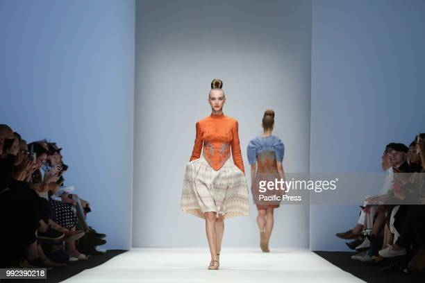 The photo shows models on the catwalk with the collection of spring/summer 2019 of the designer Ivr Isabel Vollrath.