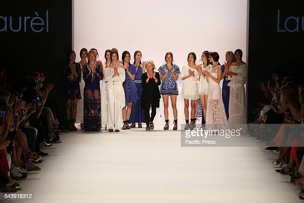 The photo shows models with the collection of Laurel on the catwalk in the Erika Hess Ice Stadium in Berlin-Weding. From 28 June to 1 July 2016 will...