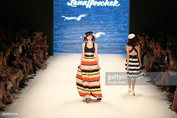 The photo shows Models with the collection of Lena Hoschek on the catwalk in the Erika Hess Ice Stadium in BerlinWeding The 19th time the...