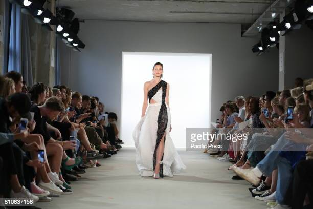 The photo shows models with the Prabal Gurung collection at the MercedesBenz Fashion Week Spring/Summer 2018 collection on the catwalk