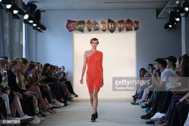 The photo shows models with the Raquel Hladky collection at the MercedesBenz Fashion Week Spring/Summer 2018 collection on the catwalk