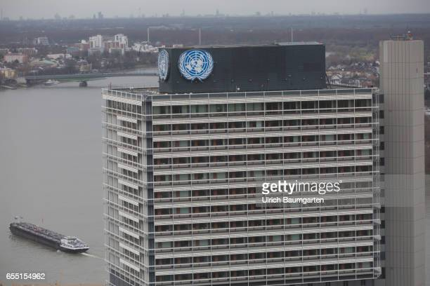 The photo shows the upper section of the Langer Eugen with the UN logo The building houses since 2006 Organizations of the United Nations