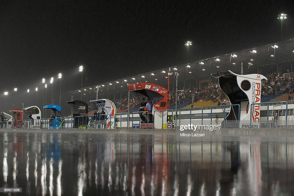 The photo shows the weather condition during the torrential rain flooded in the desert during the race to the Motorcycle Grand Prix of Doha on April 12, 2009 in Doha, Qatar.