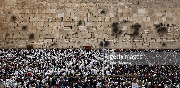 passover celebration at the western wall in jerusalem ストックフォト