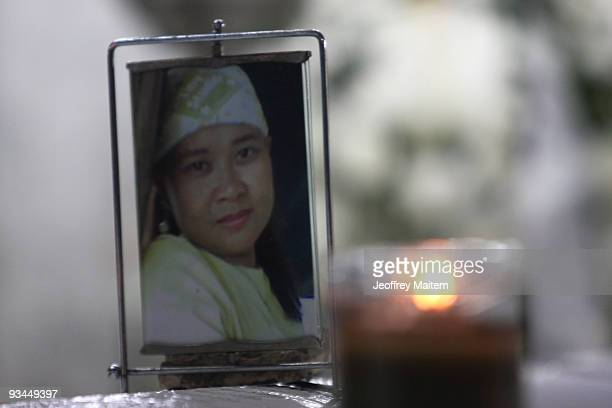 The photograph of Leah Dalmacio a journalist among 57 people massacred in the southern Philippine town of Ampatuan in Maguindanao at a wake held for...