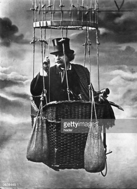 The photographer Nadar posed in a balloonbasket in his Paris studio He was a pioneer of aerial photography using such a balloon