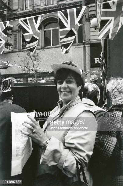 The photographer's mother Pat Stoddart enjoying the street party that followed the British victory in the war over the Falkland Islands in the South...