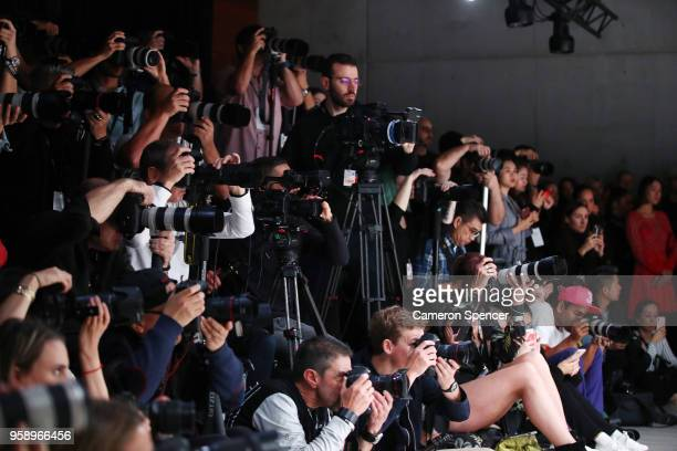The photographers pit is seen during the Acler show at Mercedes-Benz Fashion Week Resort 19 Collections at Carriageworks on May 16, 2018 in Sydney,...