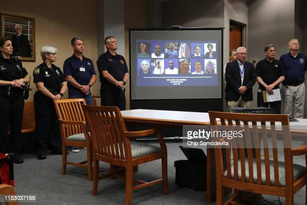 The photographs and names of the 12 victims of a mass shooting at the Municipal Center were announced by city officials during a news conference June...