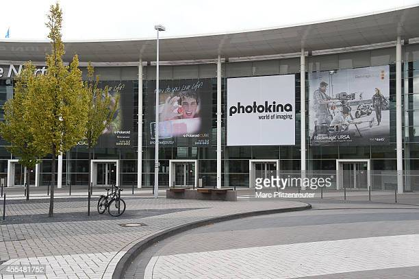 The Photokina entrance area with exhibition halls on September 15 2014 in Cologne Germany Photokina is the world's largest trade fair for cameras and...