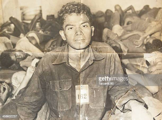 the photos of victims in s21, phnom penh, cambodia - khmer genocide stock pictures, royalty-free photos & images