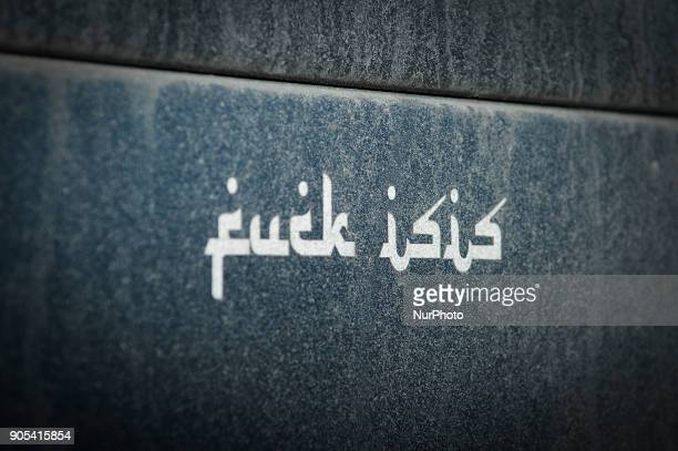 The phrase fuck isis is seen on the bumper of a Lincoln car in Bydgoszcz Poland on January 14 2018