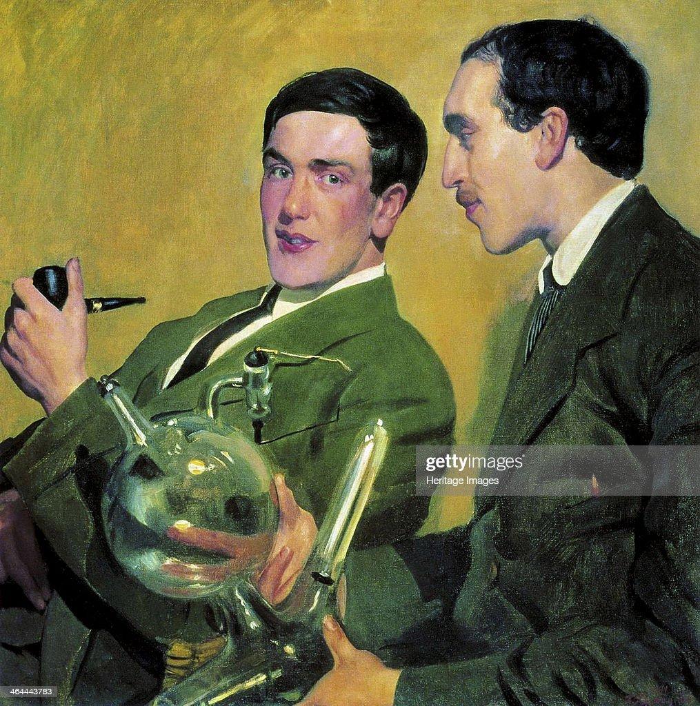 The physicists Pyotr Kapitsa (1894-1984) and Nikolay Semyonov (1896-1986), 1921. Kustodiev, Boris Michaylovich (1878-1927). Private Collection.