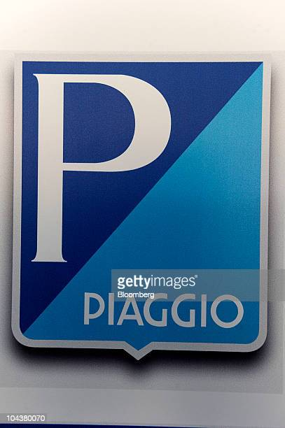 The Piaggio C SpA logo is seen at the company's investors' meeting in Milan Italy on Thursday Sept 23 2010 Piaggio C SpA the Italian maker of Vespa...