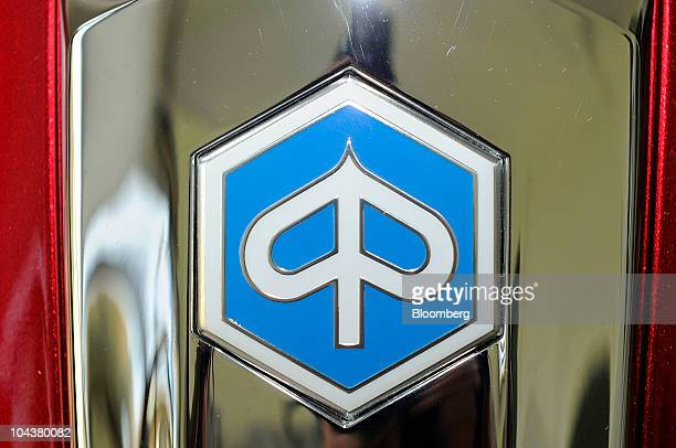 The Piaggio C SpA logo is seen on a Beverly motor scooter outside the company's investors' meeting in Milan Italy on Thursday Sept 23 2010 Piaggio C...