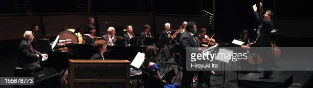 The pianist Emanuel Ax and musicians from the New York Philharmonic performing in Song of the Earth as part of Lincoln Center's White Light Festival...