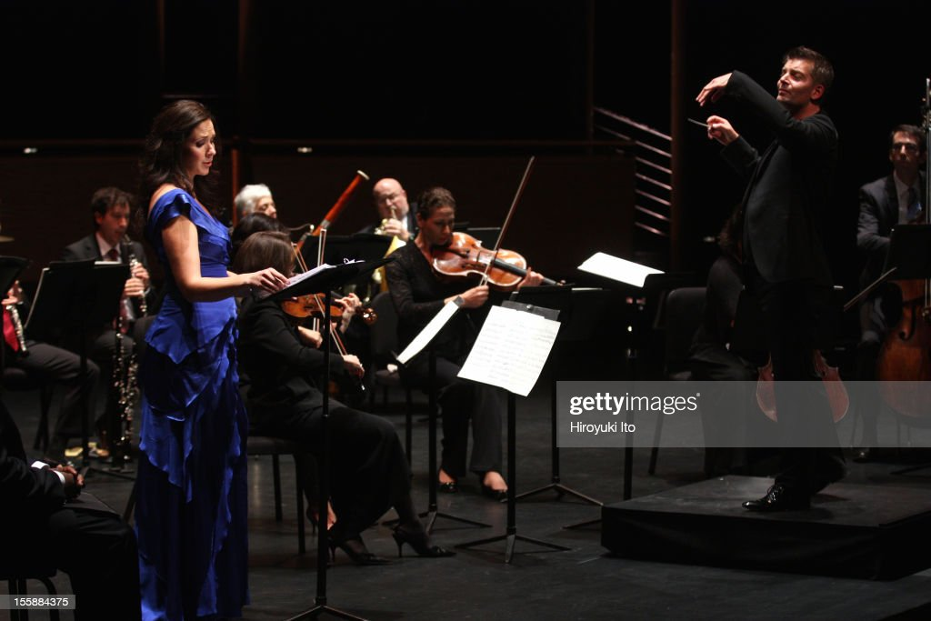 The pianist Emanuel Ax and musicians from the New York Philharmonic performing in 'Song of the Earth' as part of Lincoln Center's White Light Festival at the Rose Theater on Sunday afternoon, November 4, 2012.This image:The mezzo-soprano Tamara Mumford with the conductor Matthias Pintscher performing Mahler's 'Das Lied von der Erde.'