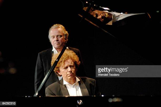 The pianist Mikhail Rudy and narrator Sean Taylor perform on stage during 'The Pianist' as part of the Sydney Festival 2009 at the Belvoir Street...