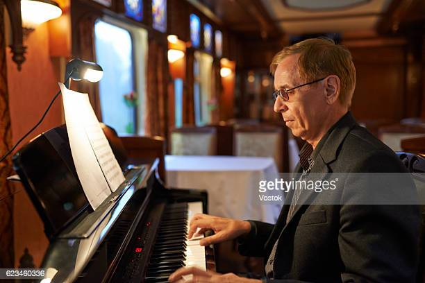 The pianist plays the piano