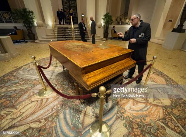 The piano that used to belong to American composer and songwriter Cole Porter was tuned and put on display inside Waldorf Astoria New York 301 Park...