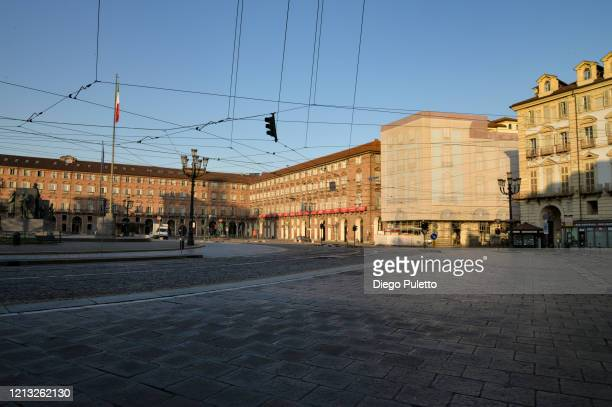 The Piazza Castello looks deserted during the nationwide lockdown to control COVID19 spread on March 17 2020 in Turin Italy The Italian government...