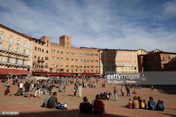 The Piazza del Campo in Siena Italy Siena is a city in central Italy's Tuscany region is distinguished by its medieval brick buildings The fanshaped...
