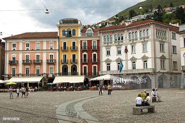 The Piazza Grande is the market place located in the centre of Locarno in Ticino region in Switzerland