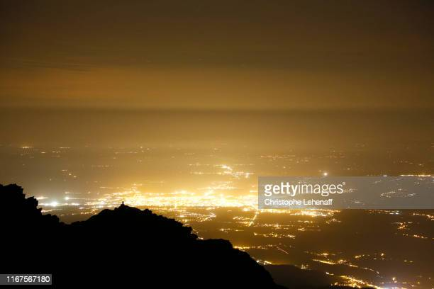 the pic du midi de bigorre observatory (france) at night - オートピレネー ストックフォトと画像