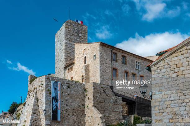 The Picasso Museum and medieval tower inside (Grimaldi Palace) at Antibes, Alpes Maritimesi FRance