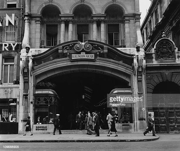 The Piccadilly entrance to the Burlington Arcade London circa 1950