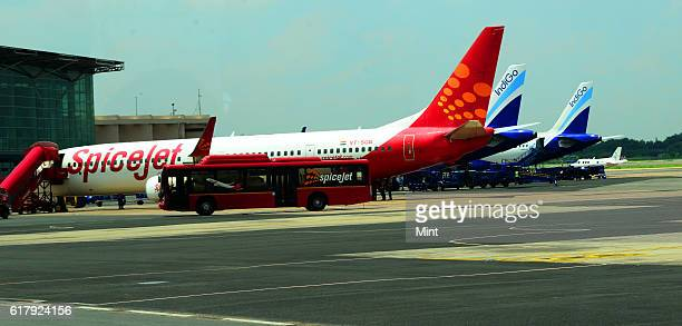 The picture featuring aircrafts at Indira Gandhi International Airport on July 27 2013 in New Delhi India