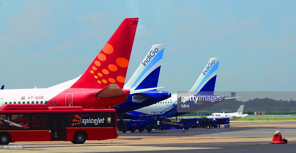 Planes At IGI Airport : News Photo