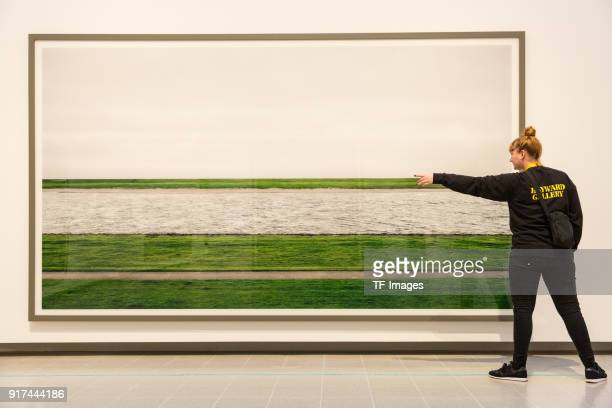 The picture 'Rhein II' by Andreas Gursky is seen in the reopened Hayward Gallery on January 24 2018 in London England