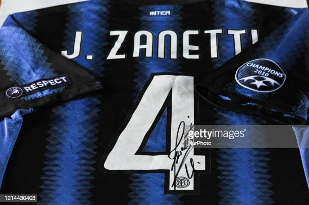 The picture show a Inter Official celebrative shirts with Milito Zanetti and Sneijder autographs in L'Aquila Italy on 21 May 2020 Decade of Inter...