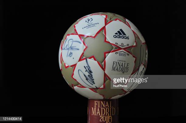 The picture show a Official final matchball with Milito Zanetti and Sneijder autographs in L'Aquila Italy on 21 May 2020 Decade of Inter Triplete and...