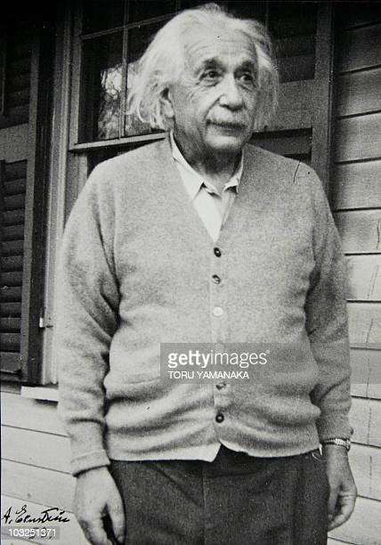 The picture shows a blackandwhite photograph with an autograph of Albert Einstein which Japanese philosopher and GermanJapanese translator Seiei...