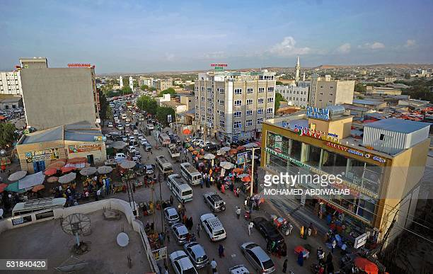 The picture shows a general view of downtown Hargeisa on May 16 2016 / AFP / MOHAMED ABDIWAHAB
